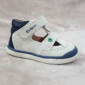 KICKERS Baby Boys Sneakers White Leather Sz 3 USA